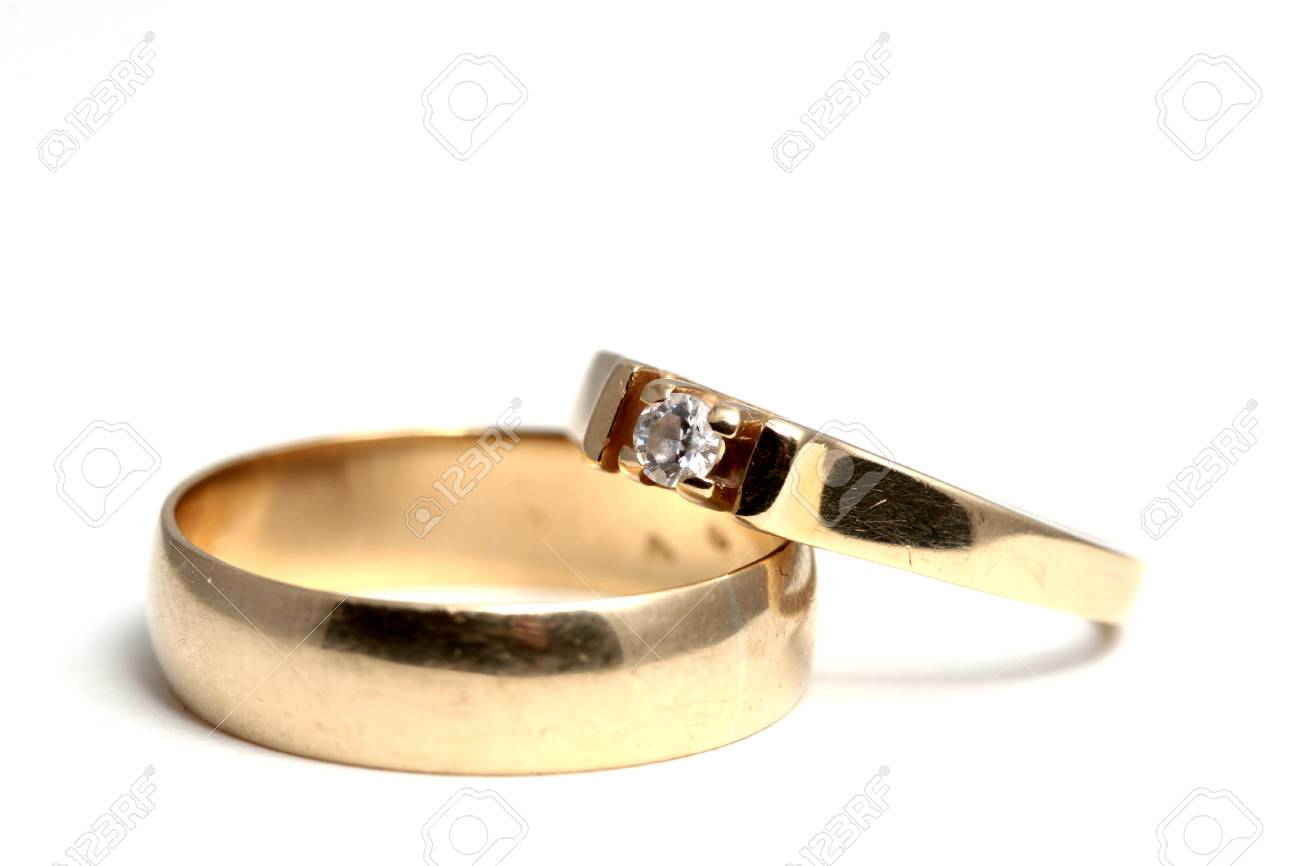 Used Wedding Rings Posing In A Natural Manner Stock Photo Picture