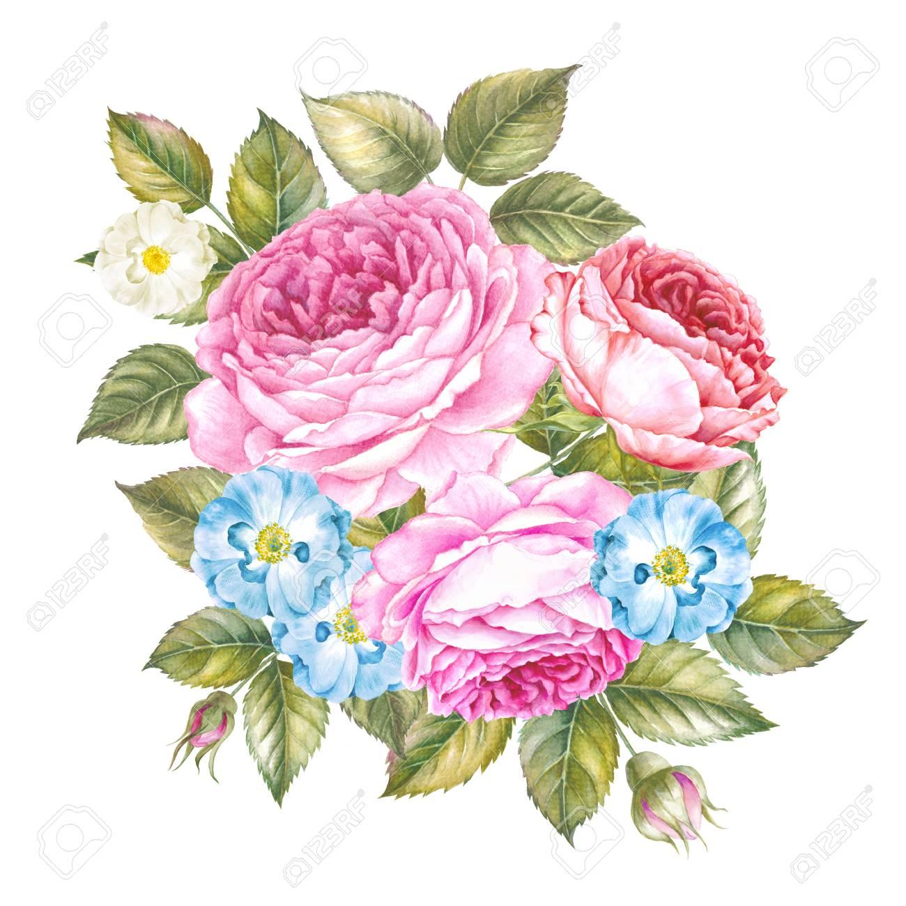 Ramo De Rosas Tarjeta De Invitación Para Boda Matrimonio O Cumpleaños Y Otras Fiestas Ilustración Botánica De Acuarela