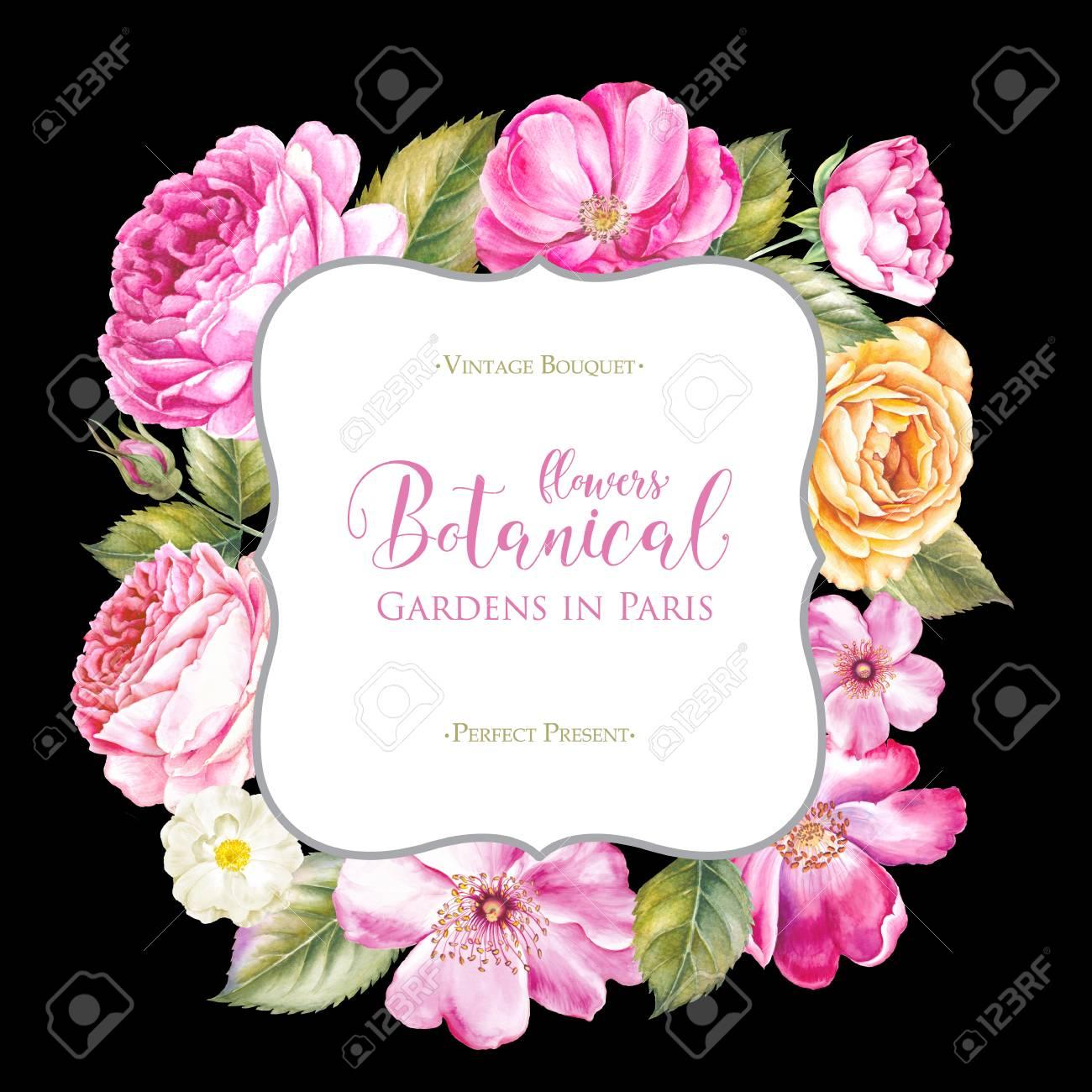 Cadre De Roses Rouges Belle Bordure De Fleur De Printemps Rectangle
