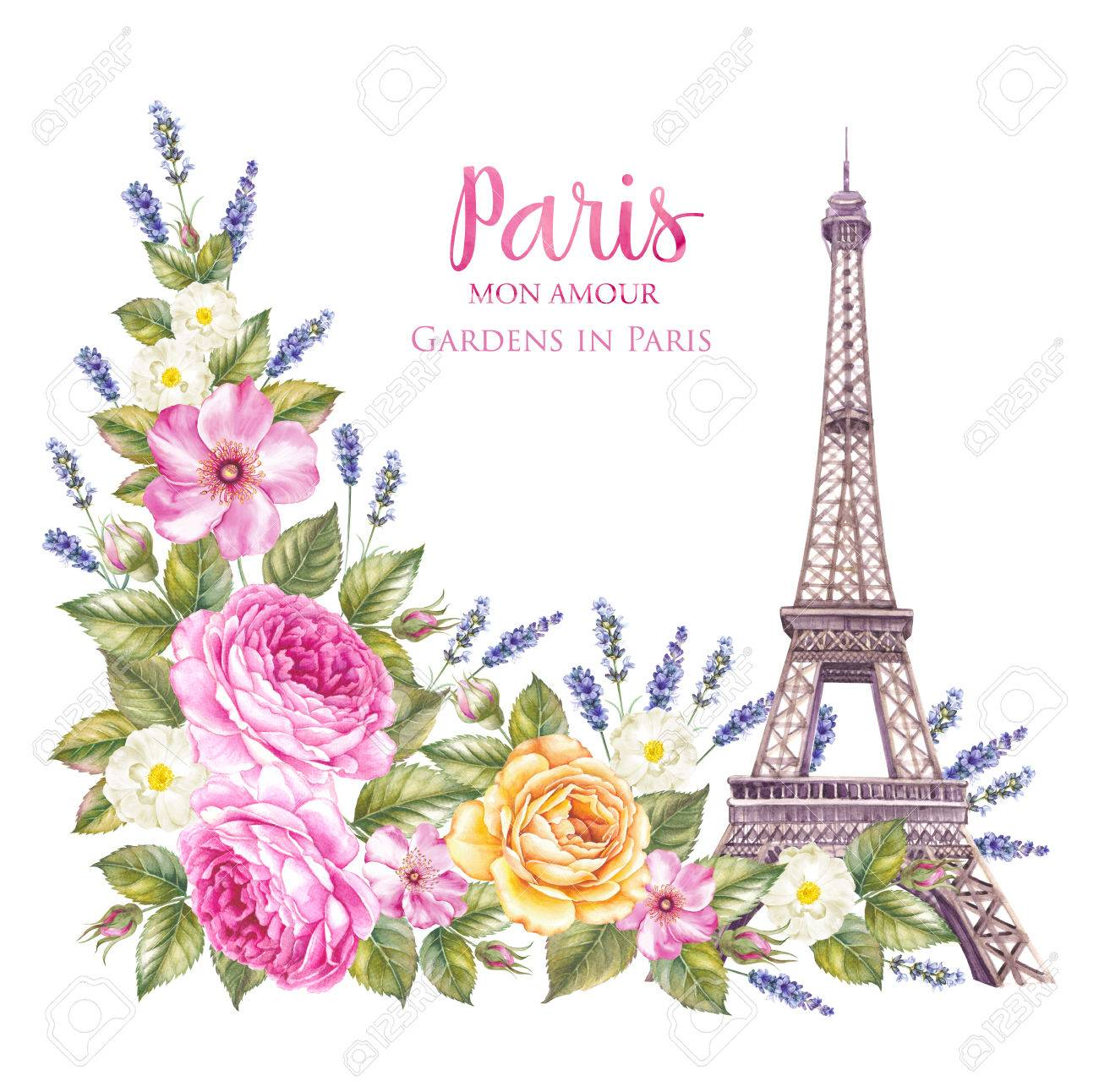 Torre Eiffel Con Flores De Primavera Están Aislados Sobre El Fondo Blanco Tarjeta De Memoria Y Signo Me Encanta París