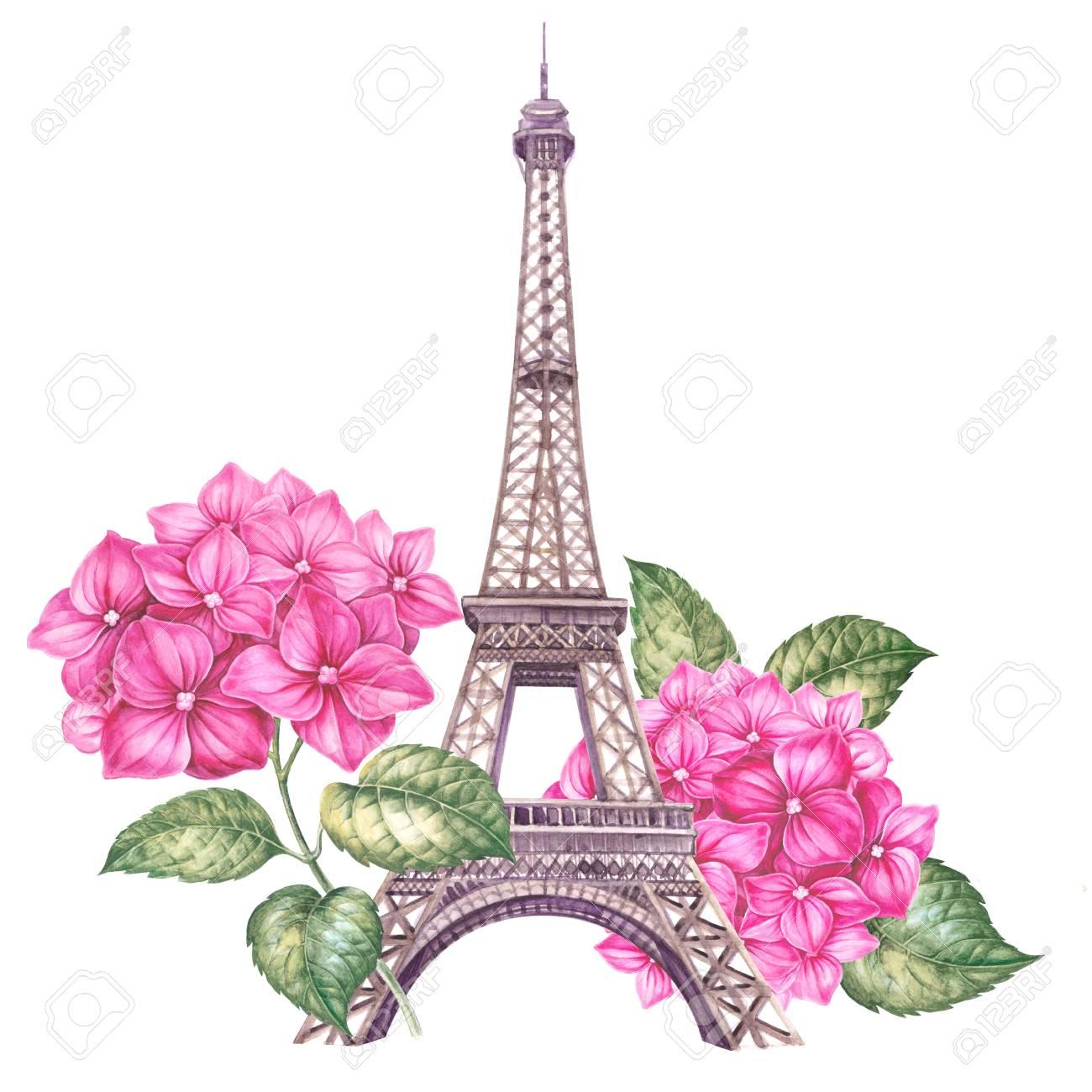 Ilustración De París De Primavera Acuarela Ilustración Botánica De Un Hortensia Torre Eiffel Con Ramo De Rama De Hortensia Para Su Tarjeta De