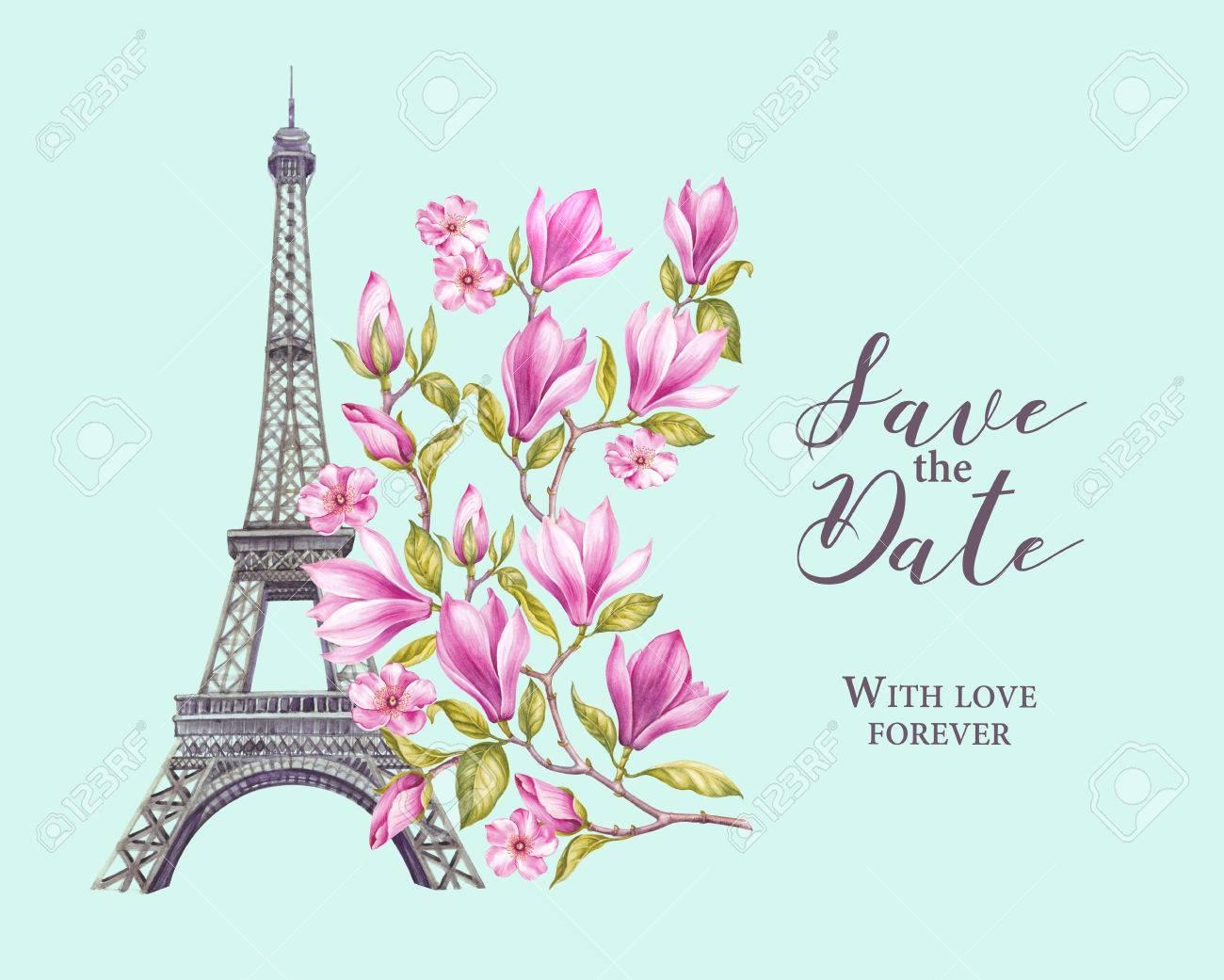 Torre Eiffel Con Flores De Primavera Están Aislados Sobre Fondo Tarjeta De Memoria Y Signo Guarda La Fecha Magnolia Floreciente Invitación De