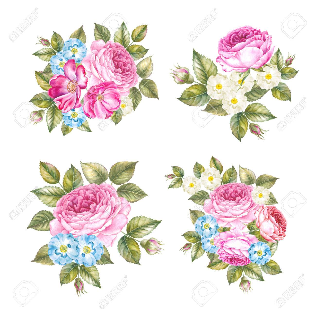Set of spring flowers wreaths collection of four garlands isolated set of spring flowers wreaths collection of four garlands isolated over white backround beautiful mightylinksfo