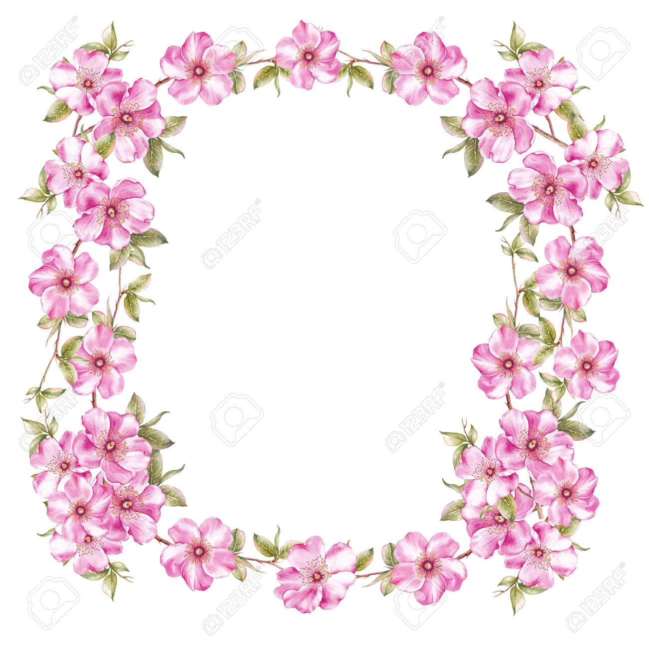Marco De Flores De Sakura Rosa Plantilla De Tarjeta De Invitación Para Bodas Cumpleaños U Otras Fiestas Ilustración Botánica De Acuarela