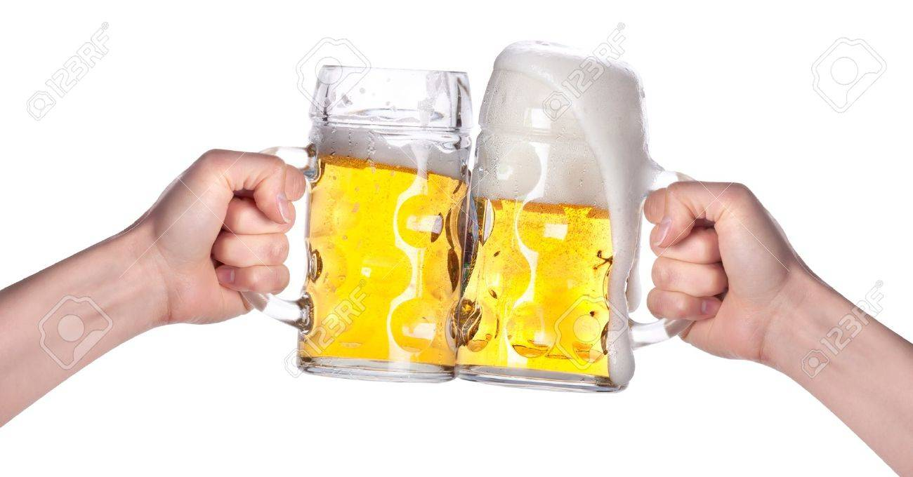 two hands holding beers making a toast Stock Photo - 13963238