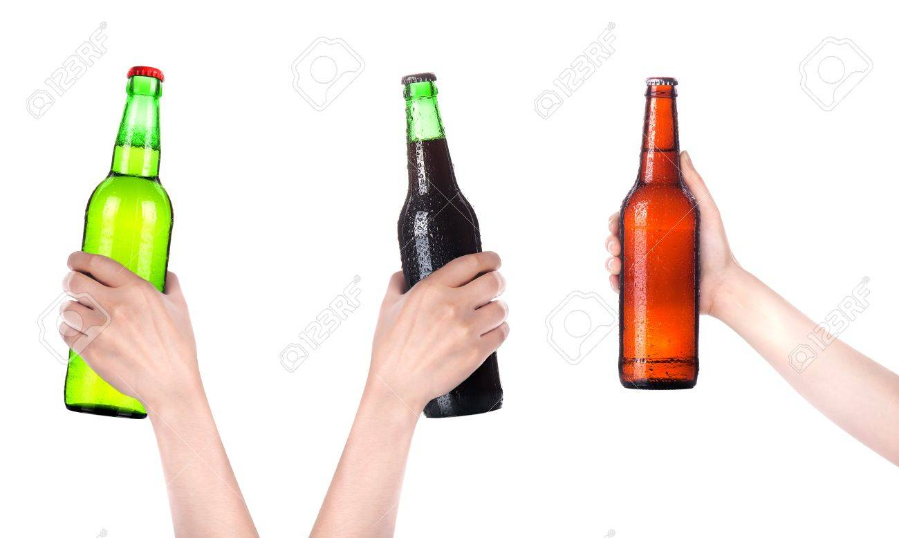 collection of isolated hands with beer bottle making a toast over white background Stock Photo - 14442404