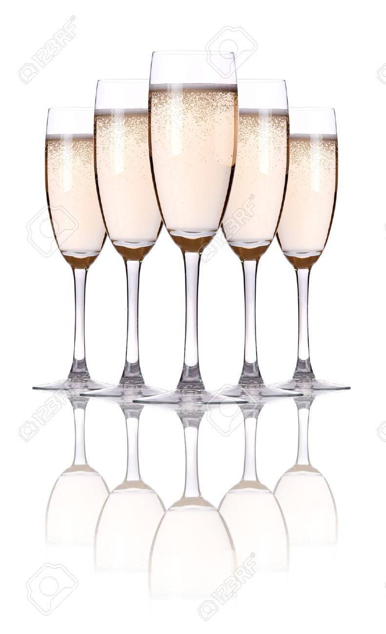 glass of champagne flutes on a white Stock Photo - 15193009