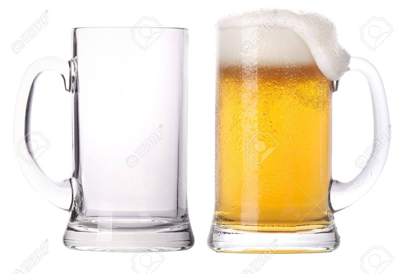 beer glass beer glasses full and empty isolated on a white background