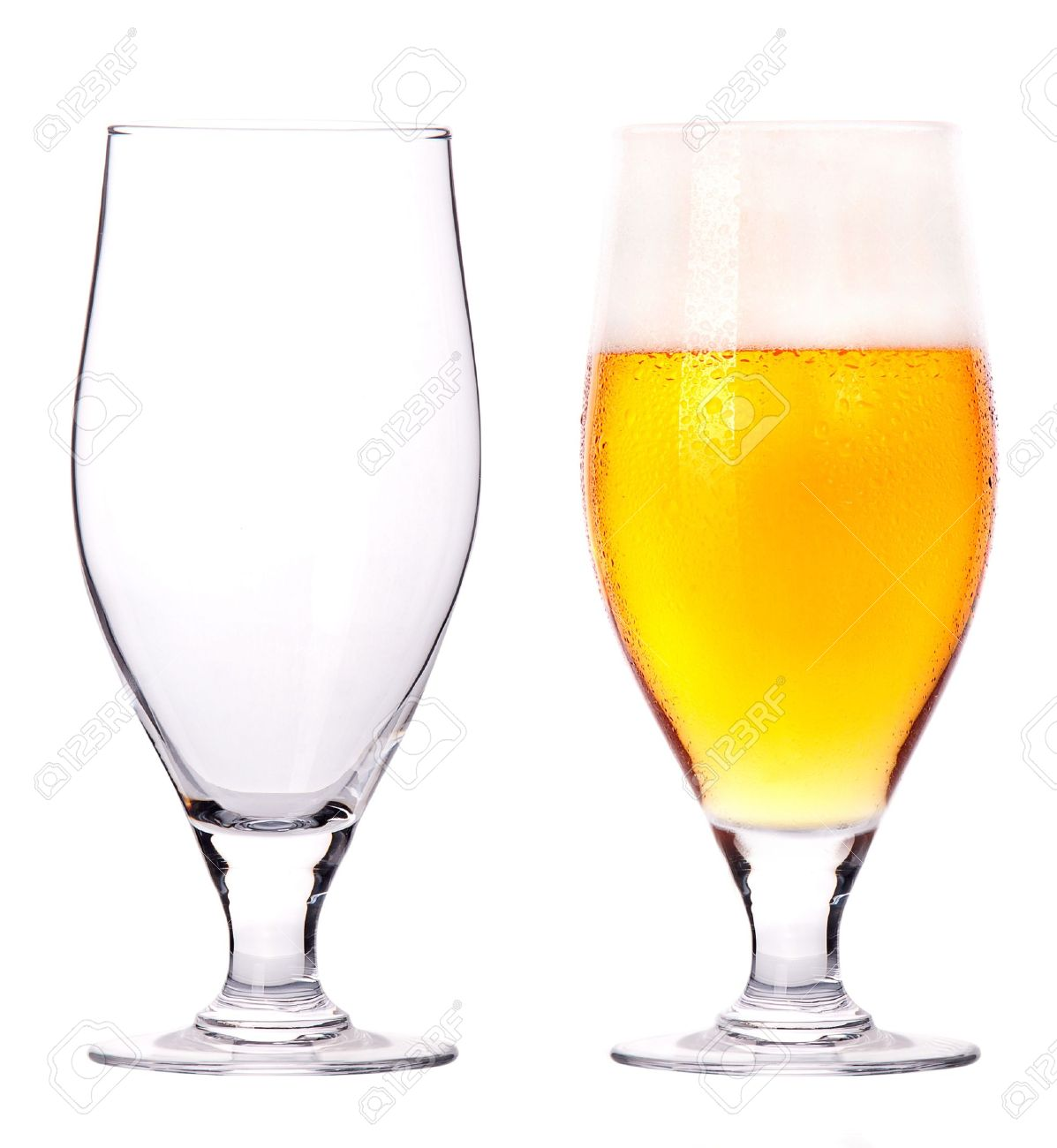 Worksheet Full And Empty beer glasses full and empty isolated on a white background stock photo 15133207