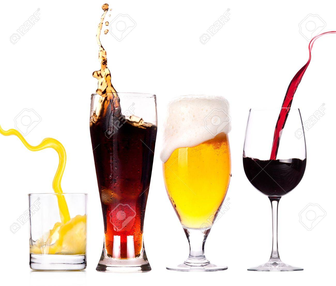 Collection of different images of alcohol isolated on a white background Stock Photo - 15542032