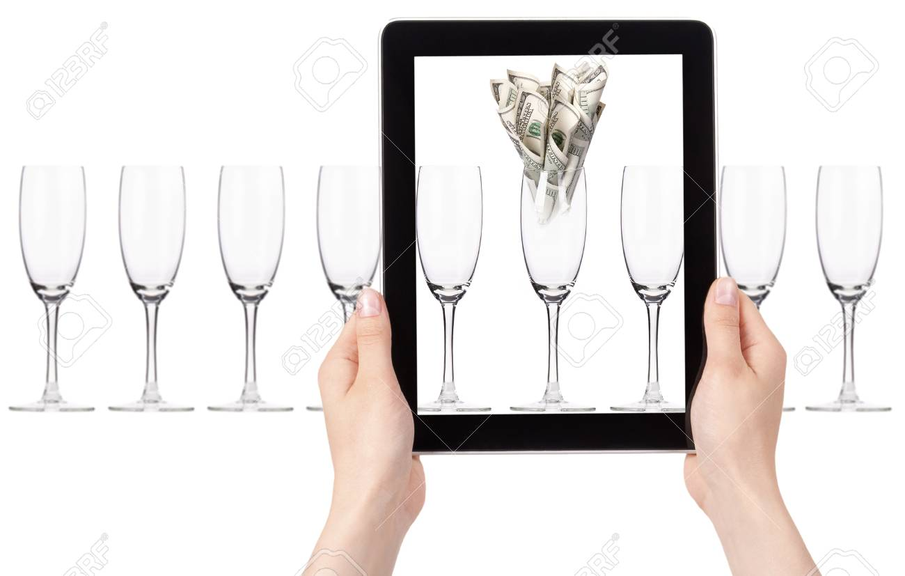 business leader concept with tablet PC screen  isolated on a white background Stock Photo - 15968825