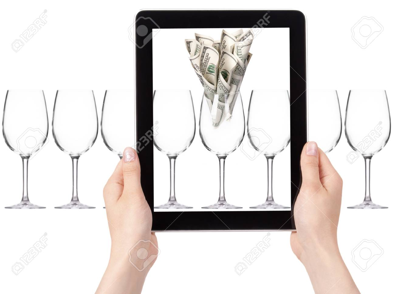 business leader concept with tablet PC screen  isolated on a white background Stock Photo - 15968823