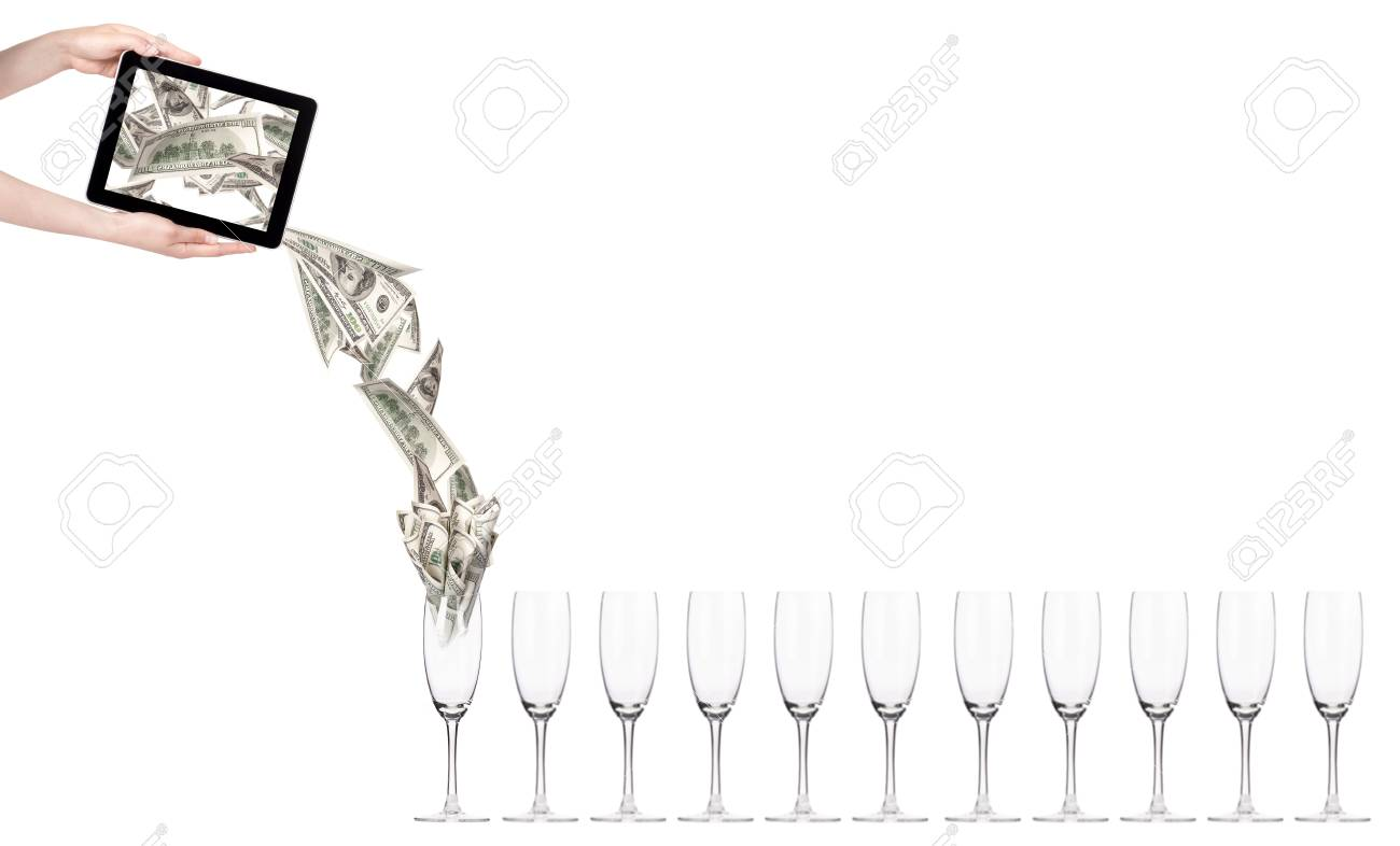 business leader concept with tablet PC screen  isolated on a white background Stock Photo - 16281138