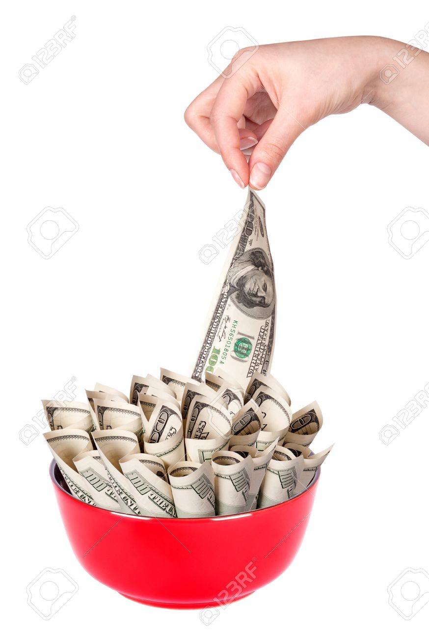 Concept image of food money - red plate full of money and Chinese chopsticks isolated Stock Photo - 16281135