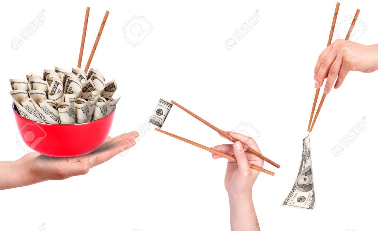Concept image of food money set isolated on a white bavkground Stock Photo - 16952473