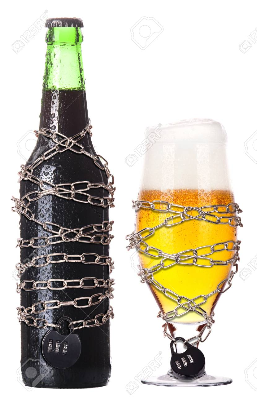 alcohol abuse concept - background with beer locked on a chain  isolated Stock Photo - 16959115