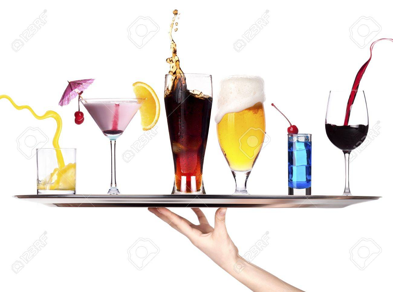 hand with tray full of alcohol drinks  celebration concept isolated Stock Photo - 18410383