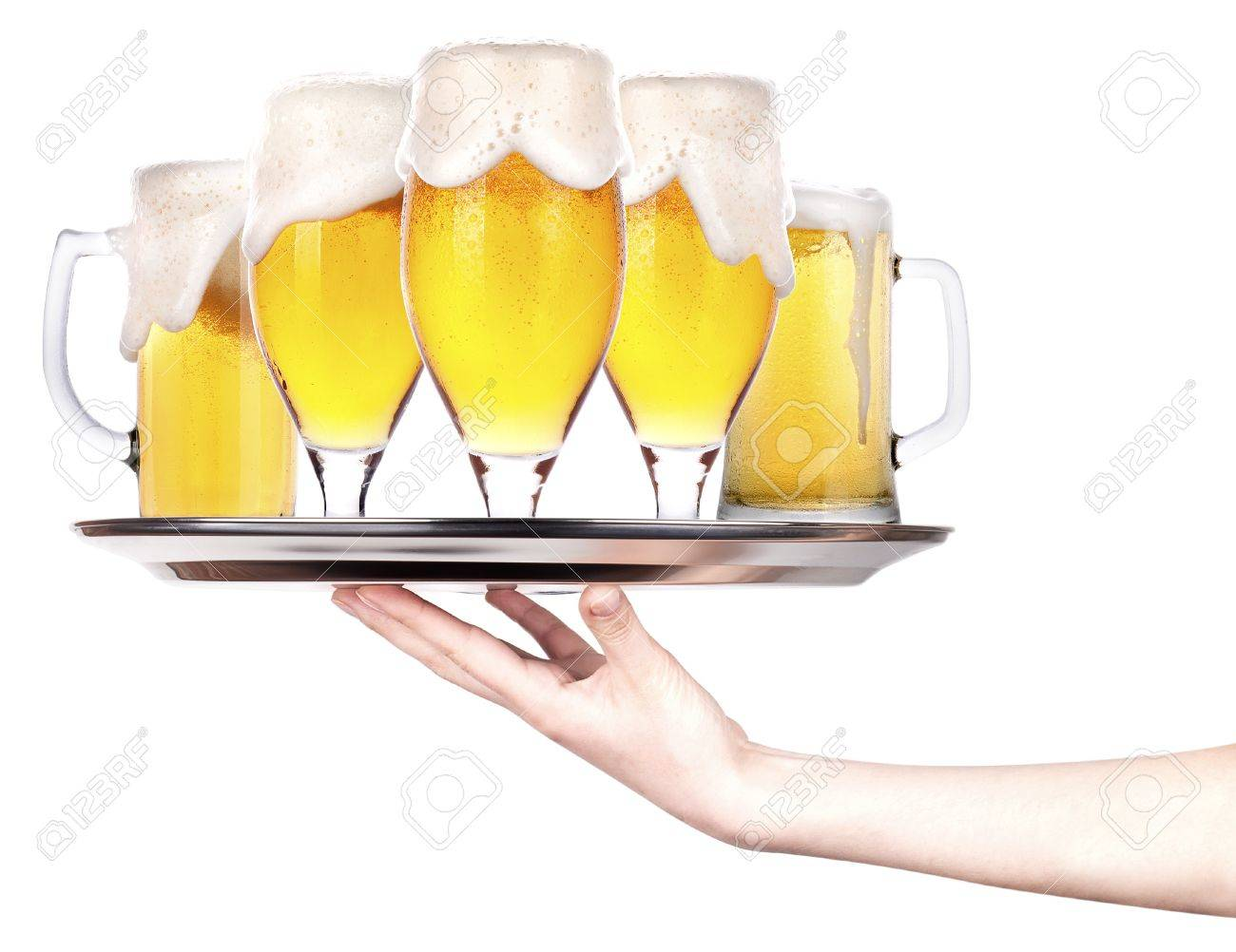 tray full of beer. celebration concept isolated Stock Photo - 18404602