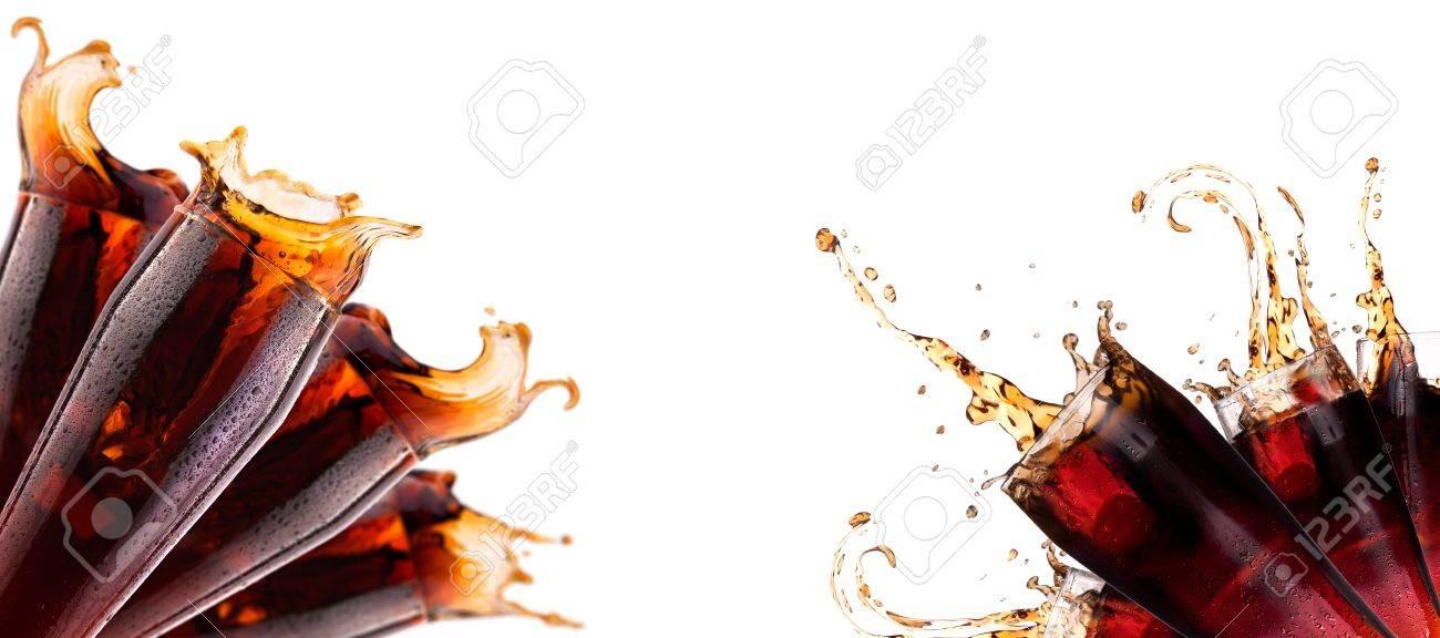 Fresh soda background with ice and splash isolated on a white Stock Photo - 19265244