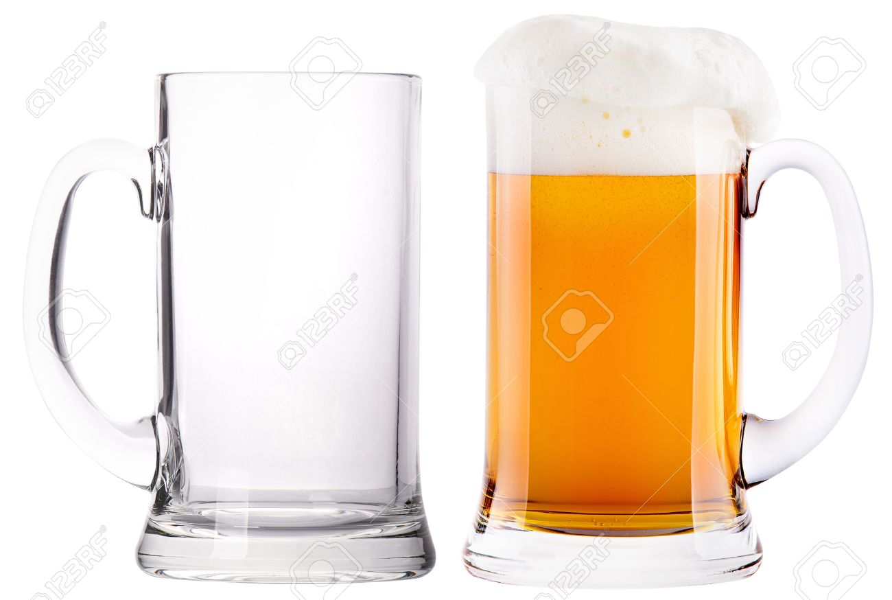 Worksheet Full And Empty beer glasses full and empty isolated on a white background stock photo 19265147
