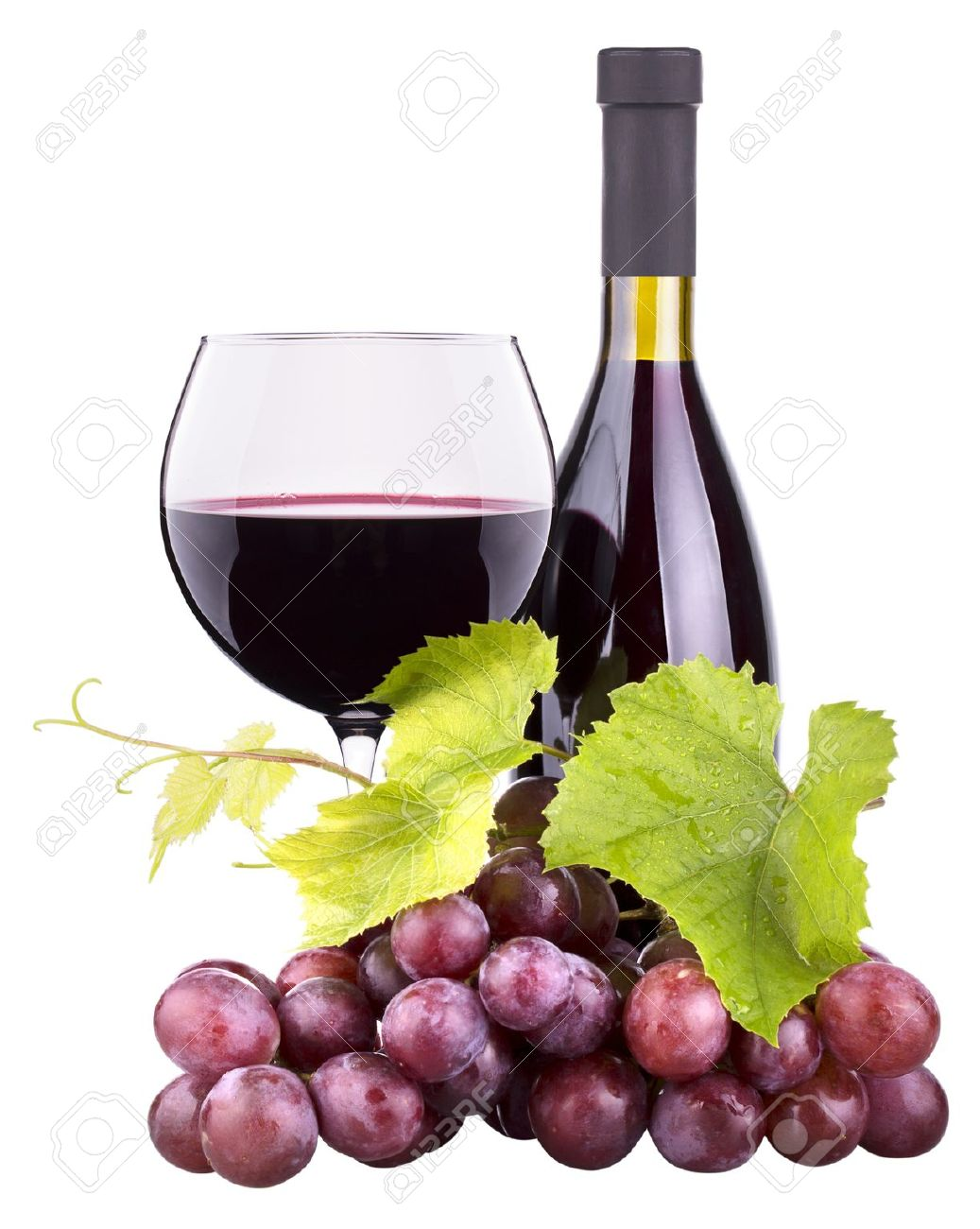 Ripe Grapes Wine Glass And Bottle Of Wine Isolated On White Stock
