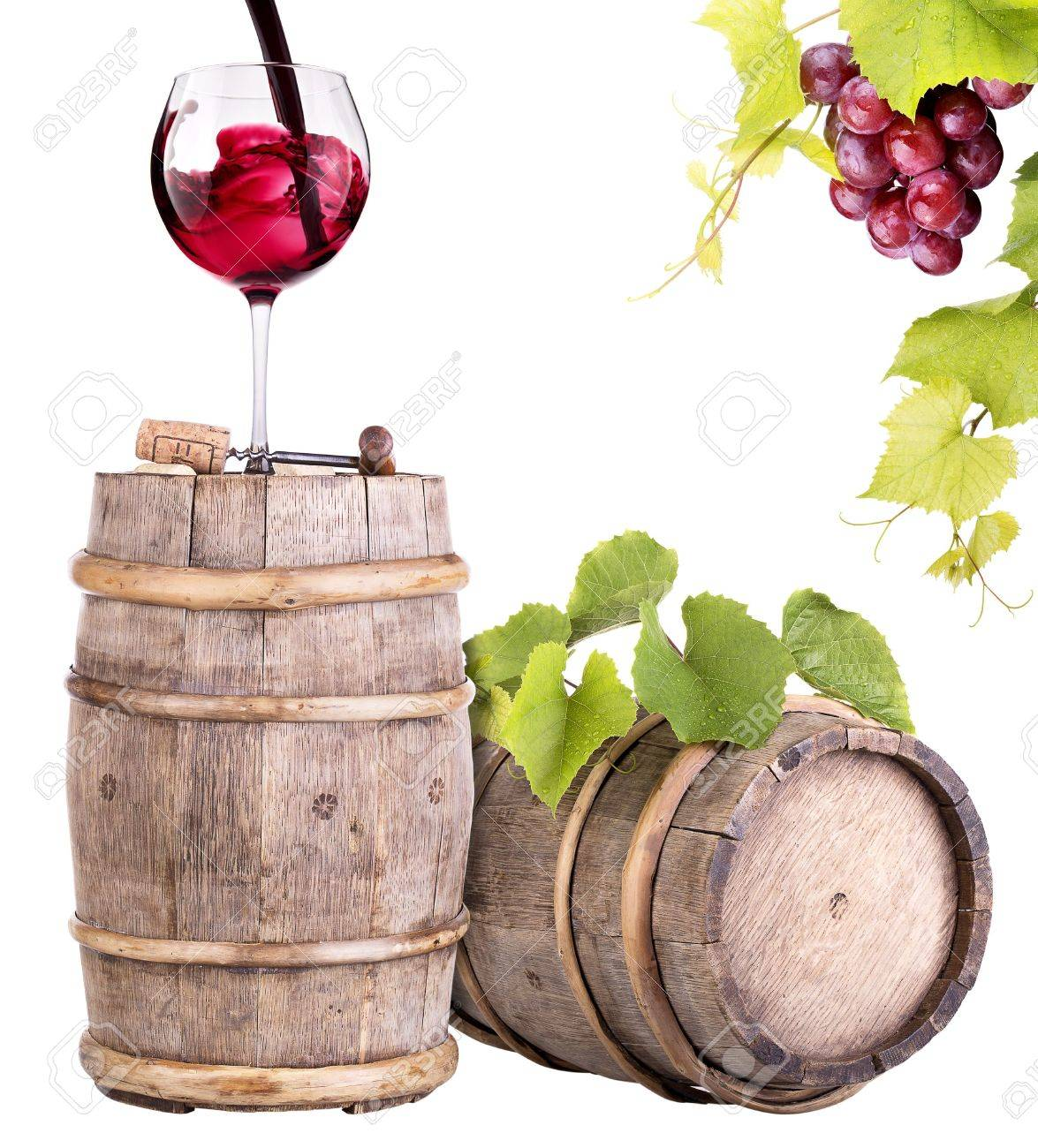 grapes with wine glass and wooden vintage barrel isolated on a white background Stock Photo - 20302987