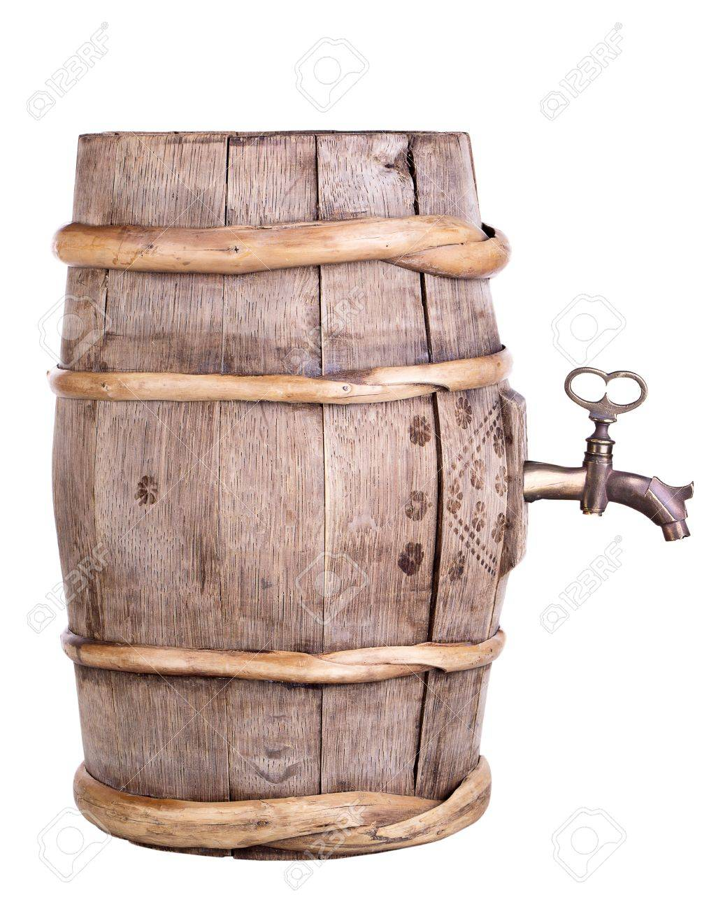 Old Wine Wooden Retro Barrel With Faucet Isolated Stock Photo ...