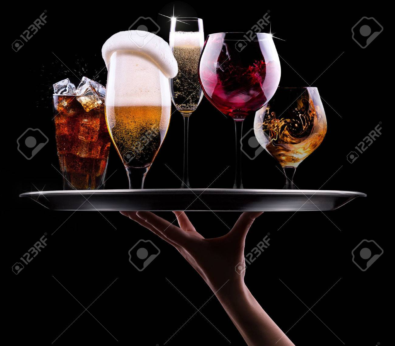 http://previews.123rf.com/images/boule13/boule131312/boule13131200129/24266182-tray-with-different-drinks-on-black-background-champagne-beer--Stock-Photo.jpg