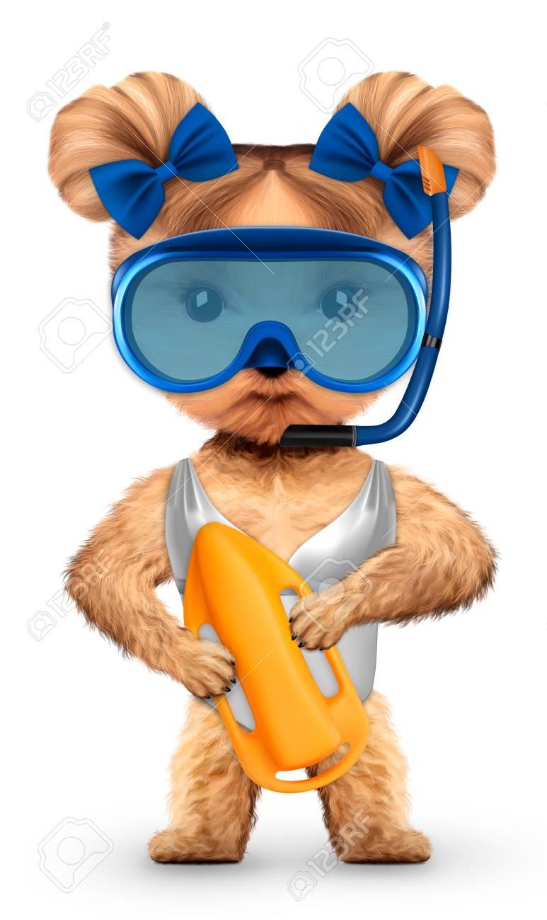 Drole D Animal Dans Un Masque De Plongee Tenant La Garde Concept De Vacances D Ete Concept De Vacances Voyage Illustration 3d Realiste Banque D Images Et Photos Libres De Droits Image 82729602