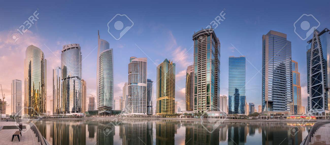 Jumeirah Lakes Towers in Dubai during sunny morning - 126611251
