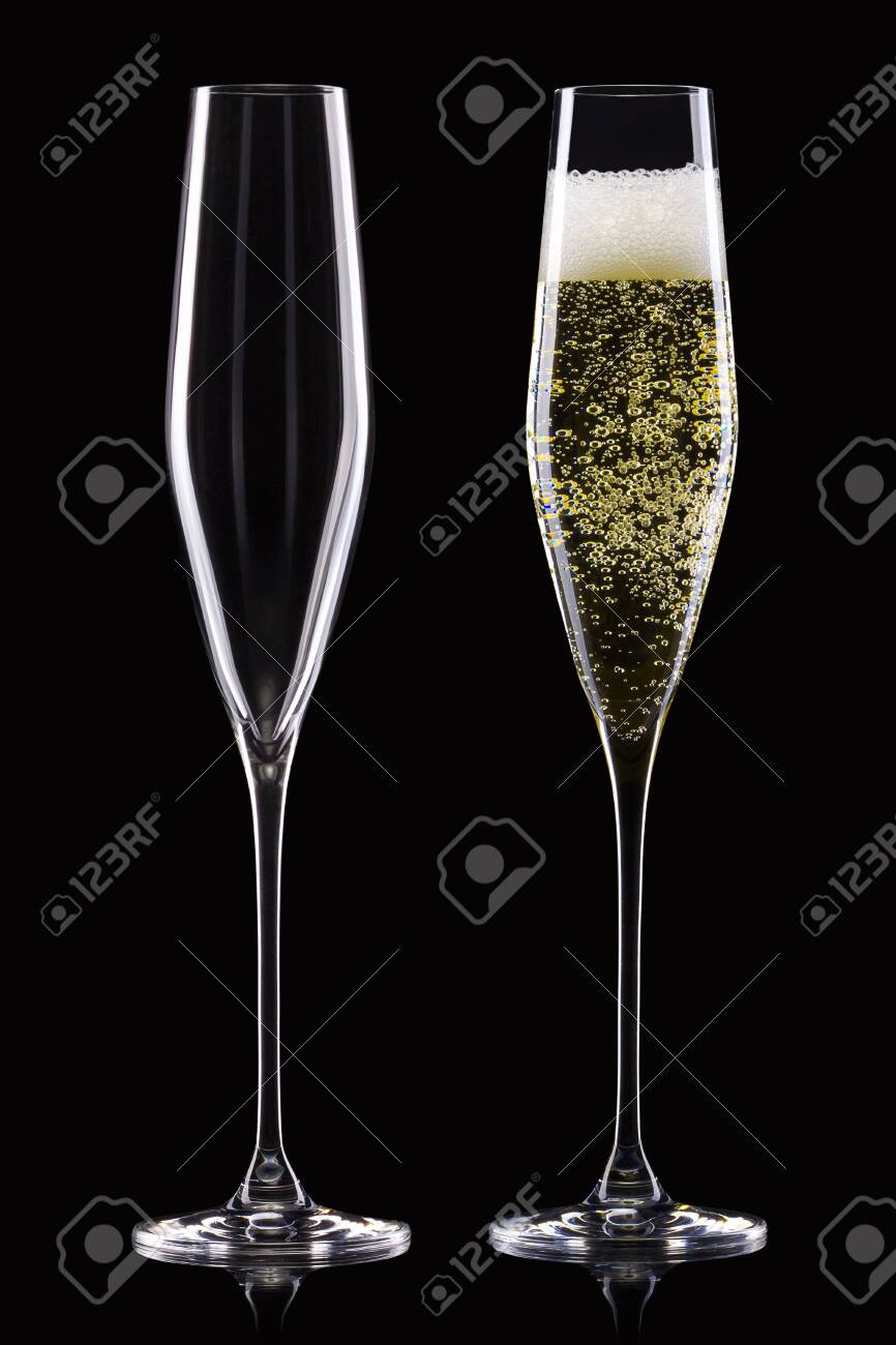 Set of empty and full champagne glasses isolated on black background. - 139554082