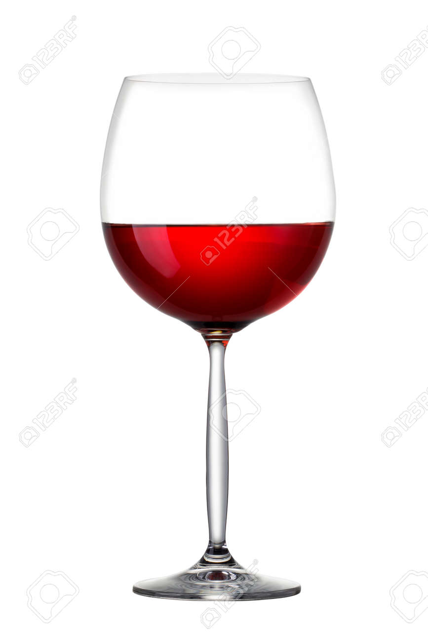 Red wine in glass isolated on white - 142530648