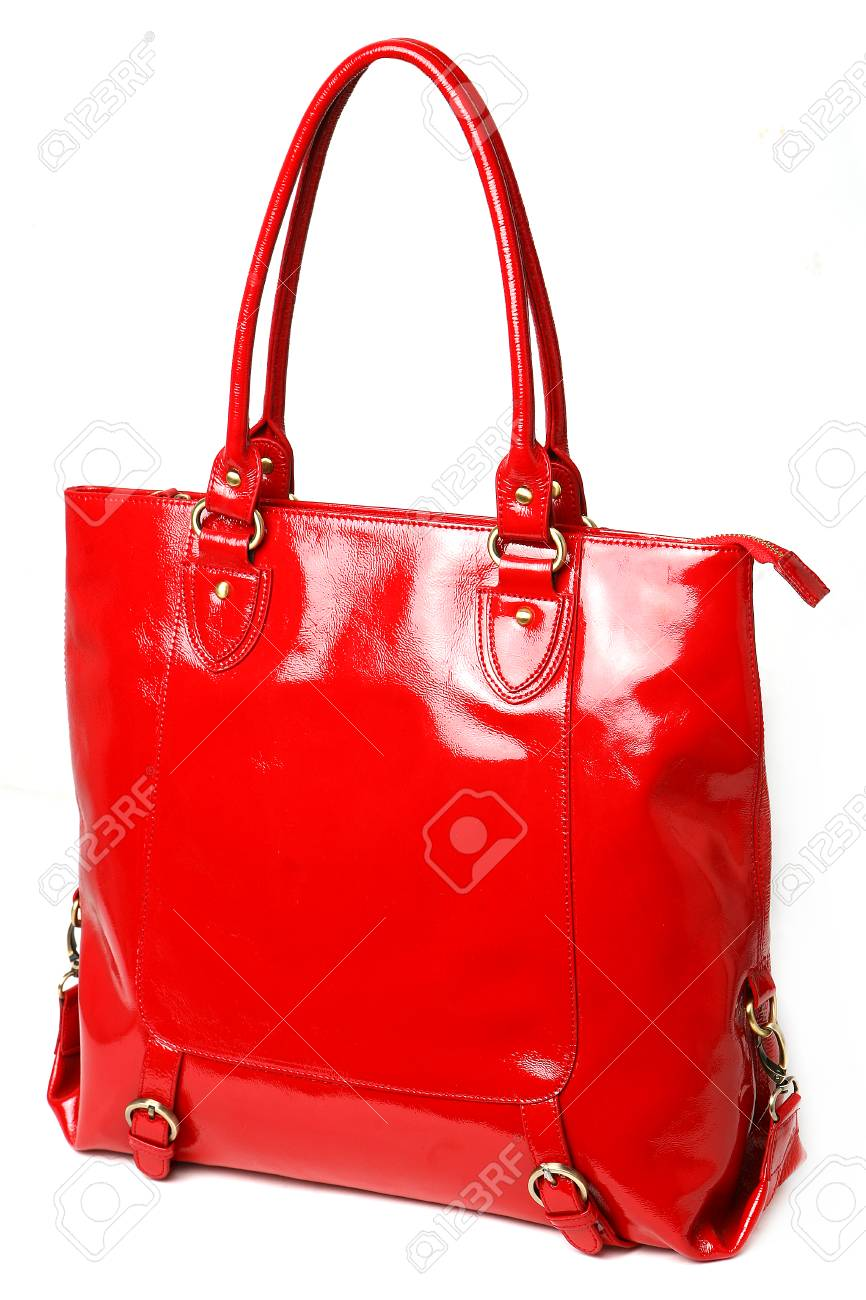 1ea7fc5a0e9f0 Red women bag isolated on white background Stock Photo - 33598834