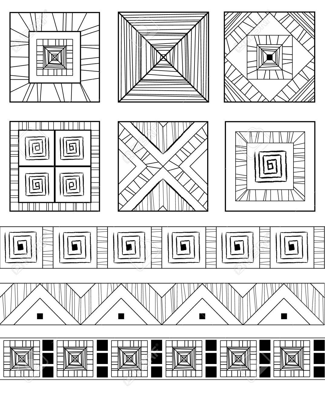 Monochrome set of geometric ethnic ornamens Stock Vector - 8690210