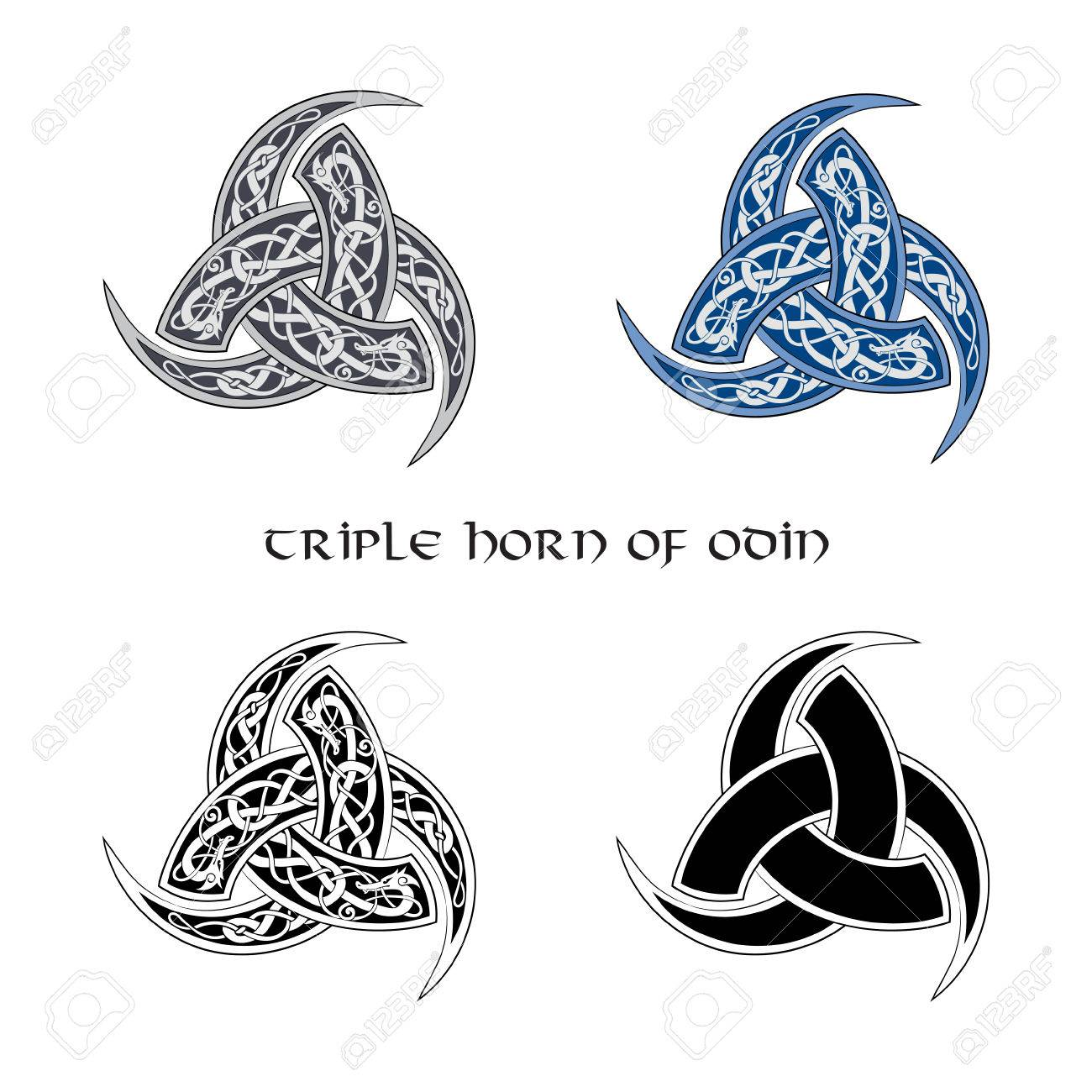 Triple horn of odin decorated with ornaments set isolated on triple horn of odin decorated with ornaments set isolated on white vector illustration buycottarizona