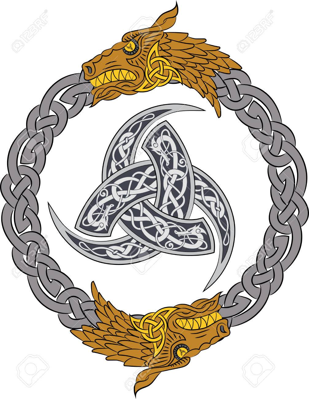 Golden dragons in silver wreath with triple horn of odin decorated golden dragons in silver wreath with triple horn of odin decorated with scandinavic ornaments vector buycottarizona