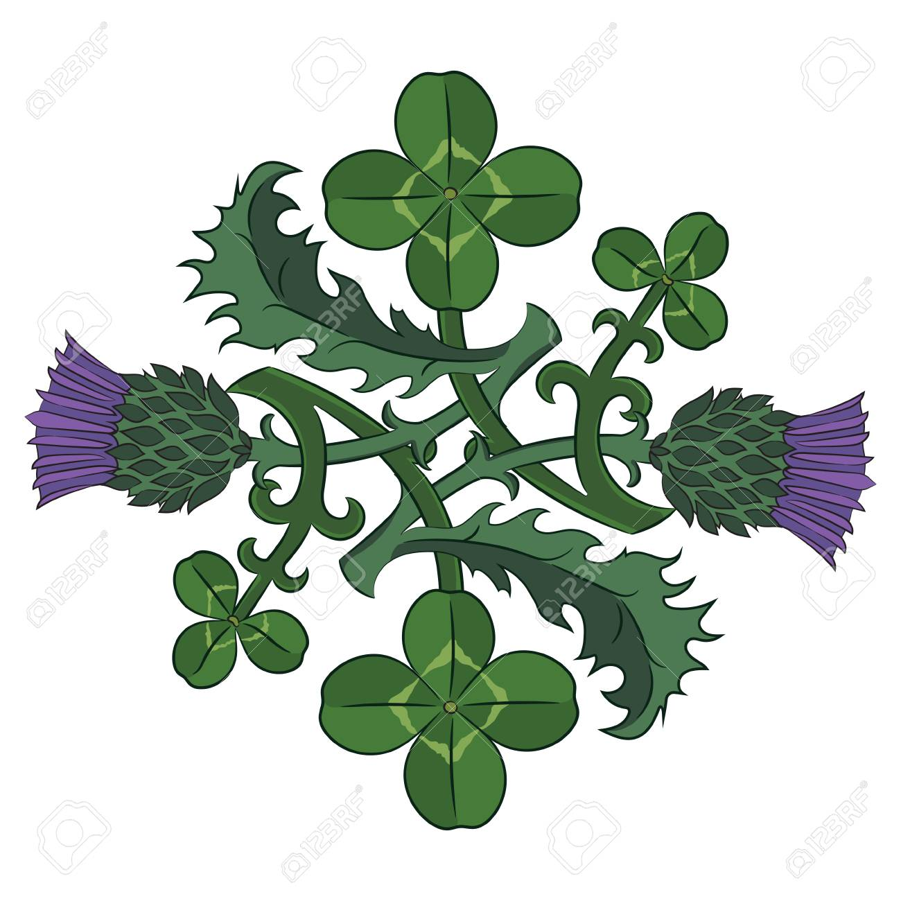 Thistle and clover the symbols of ireland and scotland vector thistle and clover the symbols of ireland and scotland vector illustration stock vector 86100899 buycottarizona Image collections