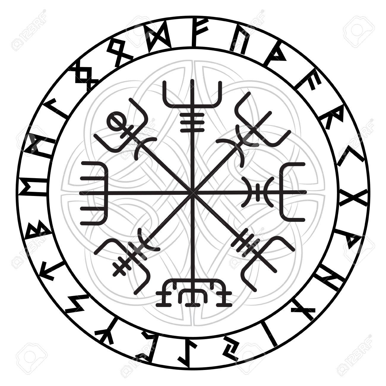 Vegvisir De Magic Navigatie Kompas Van Oude Ijslandse Vikingen Met