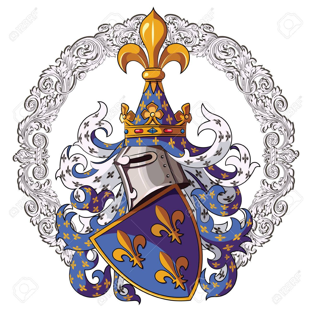Knightly coat of arms medieval knight heraldry and medieval medieval knight heraldry and medieval knight ornament vector illustration biocorpaavc Choice Image