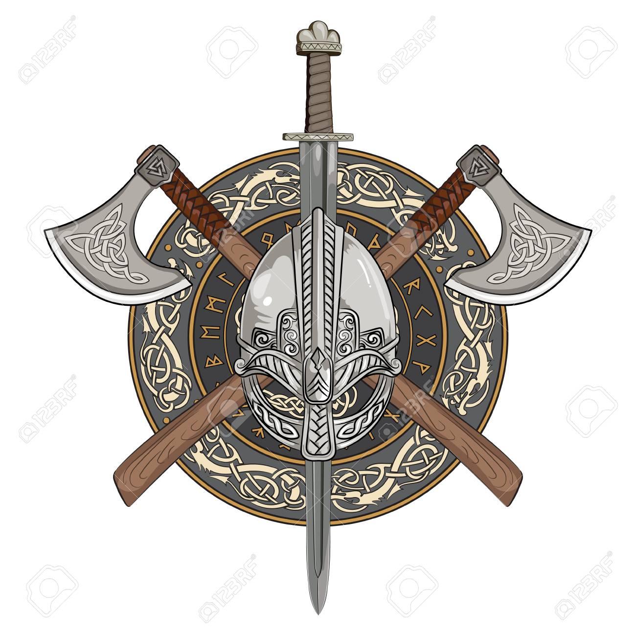 Viking Helmet Crossed Axes And In A Wreath Of Scandinavian