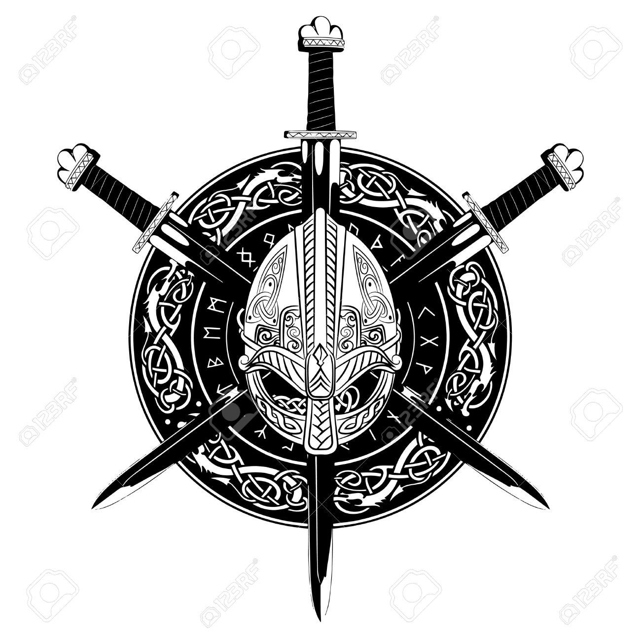 Viking Helmet Crossed Sword And In A Wreath Of Scandinavian