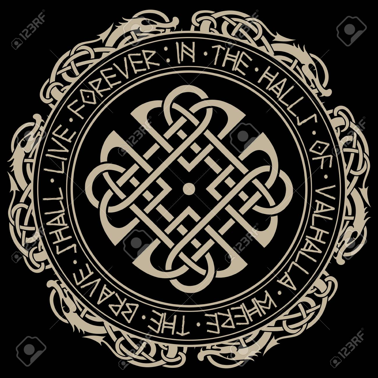 scandinavian pattern and circle of norse runes and dragons royalty
