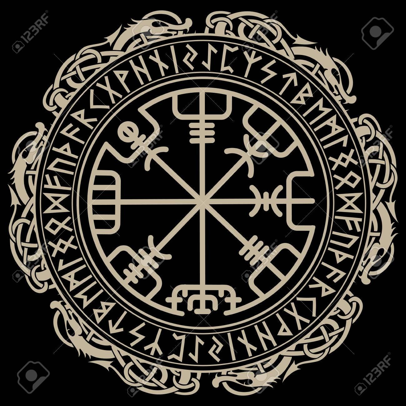 Viking design magical runic compass vegvisir in the circle viking design magical runic compass vegvisir in the circle of norse runes and dragons buycottarizona Choice Image