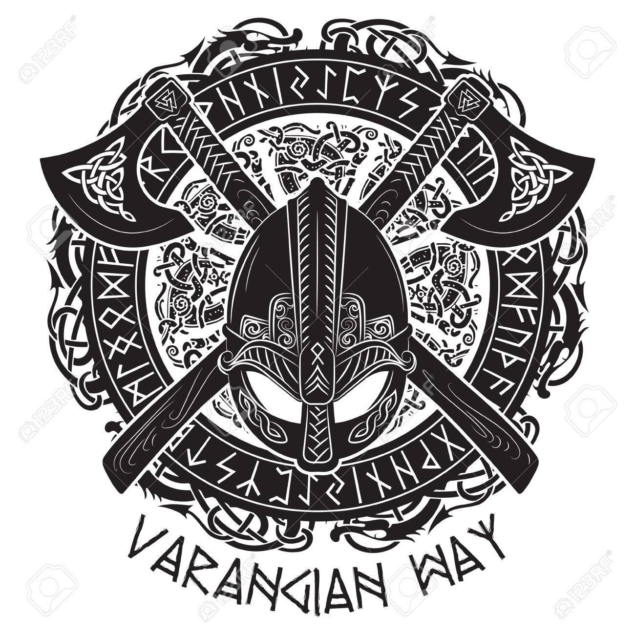 viking helmet crossed viking axes and in a wreath of scandinavian
