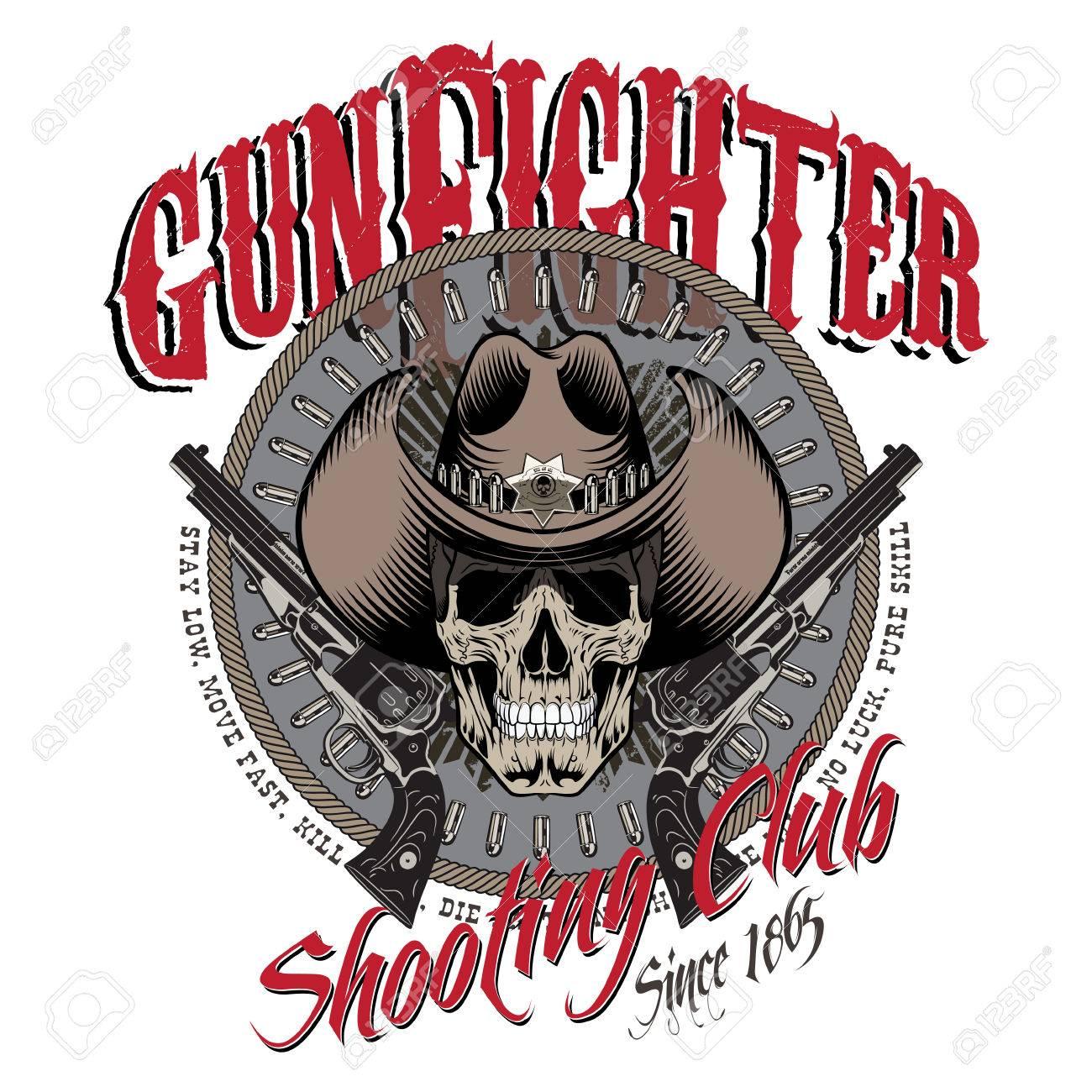 c620cb6b7a7 Design Gunfighter. Skull In Cowboy Hat