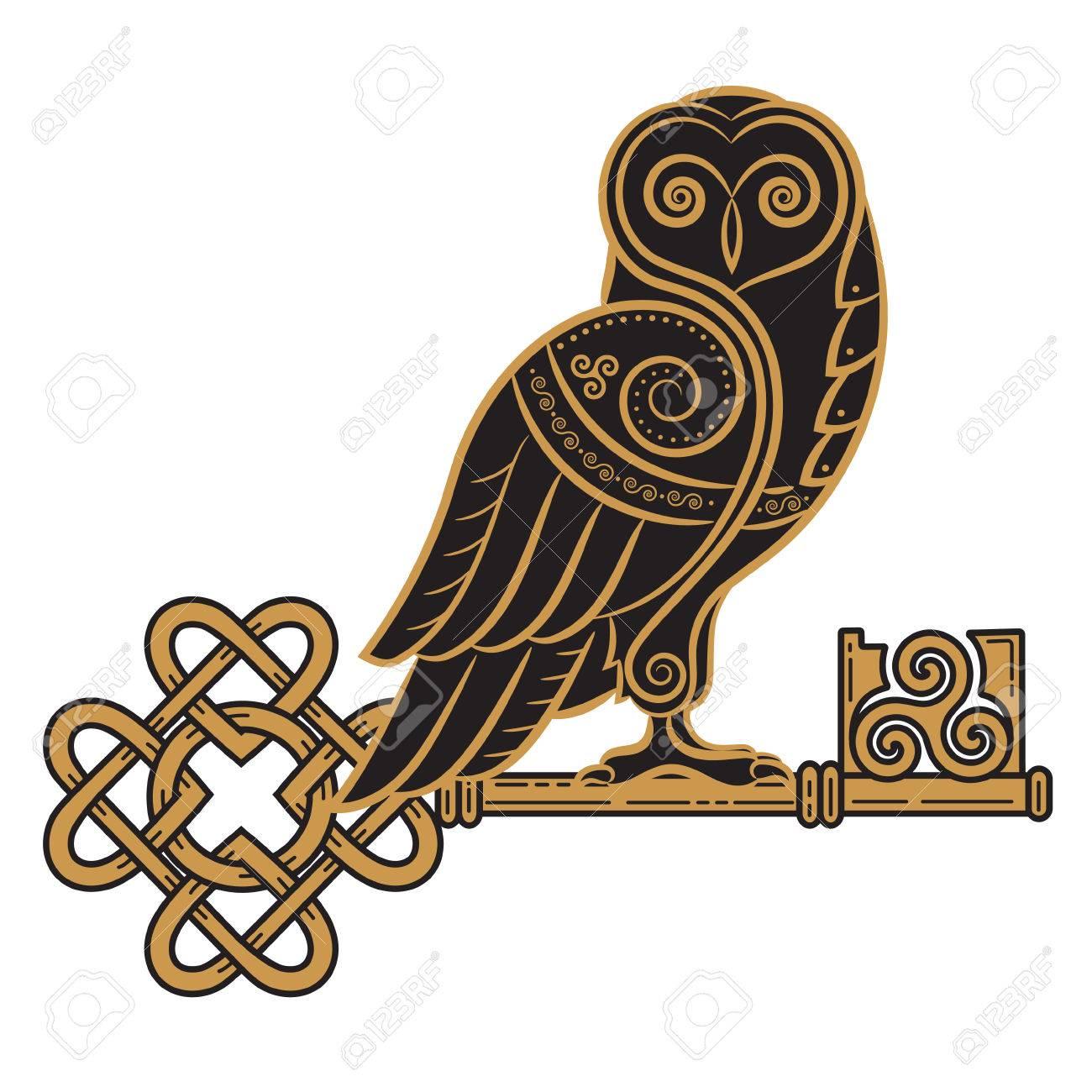 La Chouette Symbole le design celtique. chouette et clé dans le style celtique, un