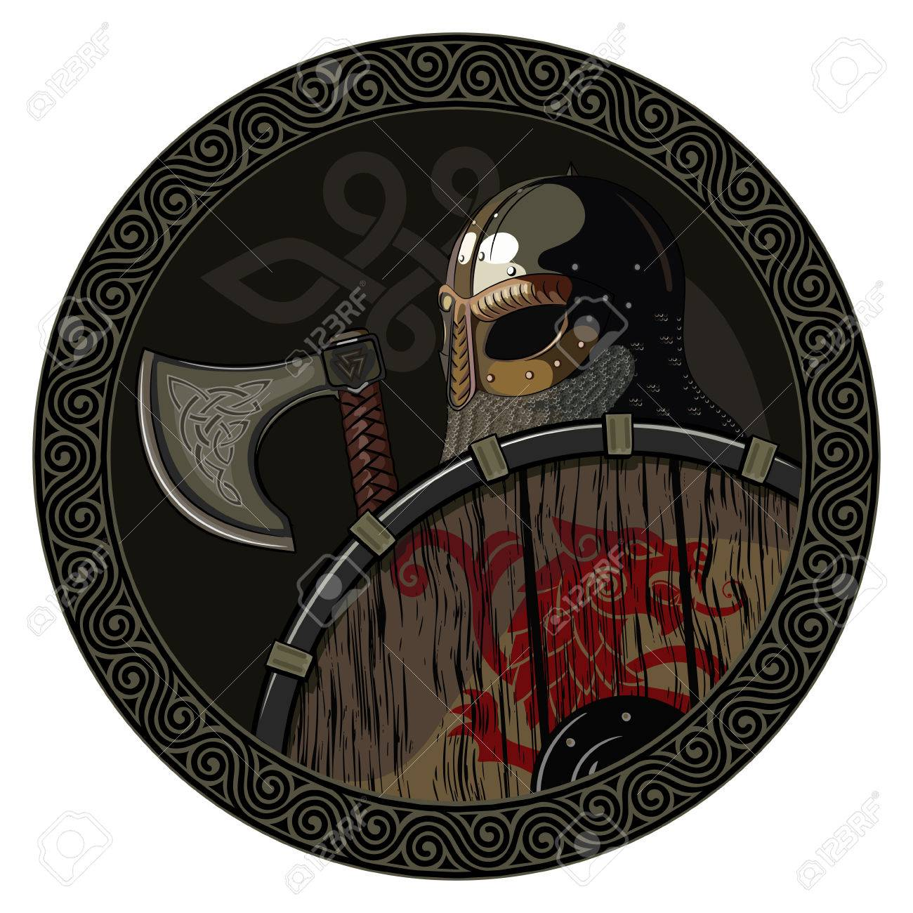 Warrior Barbarian Viking Berserker With Axe And Shield Isolated