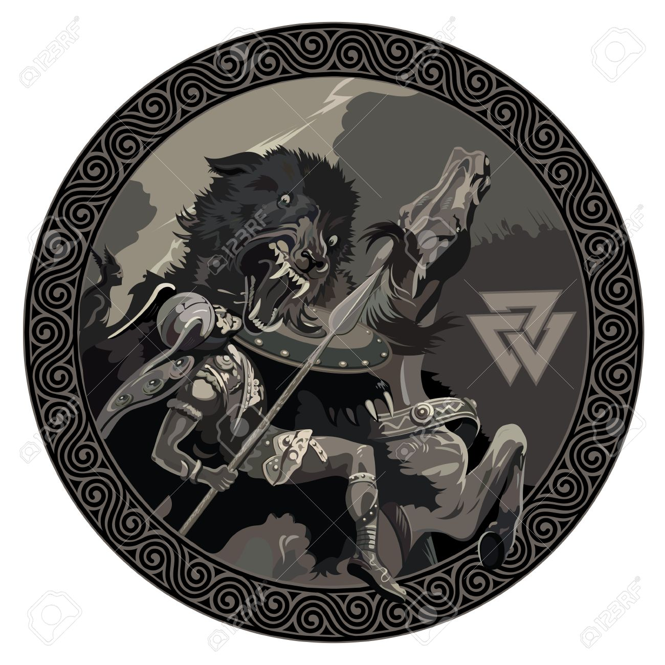 battle of the god odin with the wolf fenrir illustration of