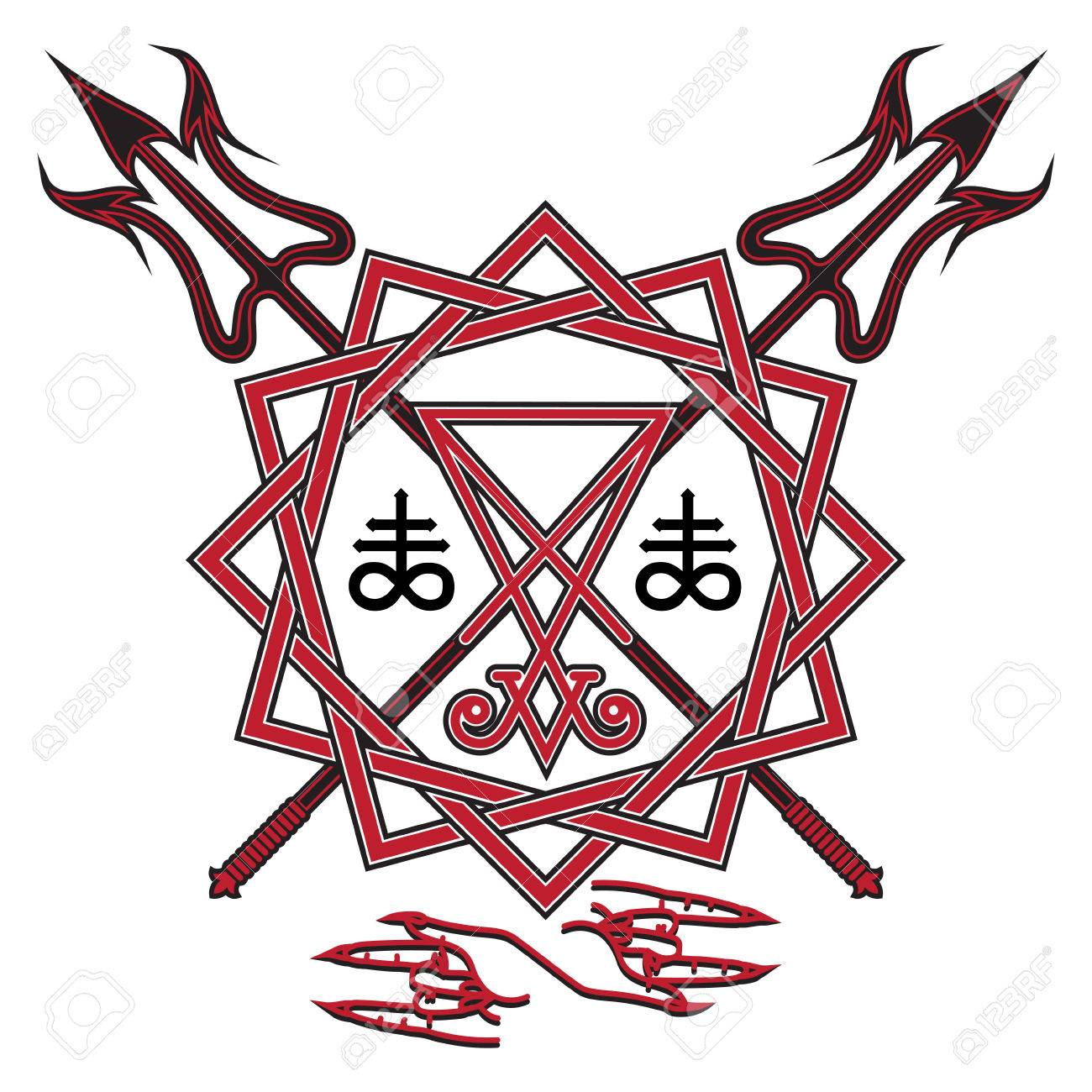Pentagram witch images stock pictures royalty free pentagram sign of lucifer the pentagram and crossed devils pitchfork isolated on whie vector biocorpaavc