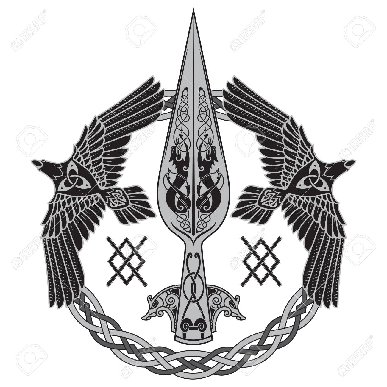 The Spear Of The God Odin - Gungnir. Two Ravens And Scandinavian ...